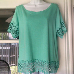 A.N.A. Sea Green Scalloped Top Large